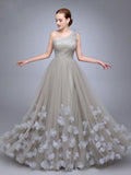 Chic A-line One Shoulder Silver Tulle Applique Sleeveless Prom Dress Evening Gowns AM225