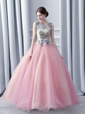 Chic A-line Ball Gowns Scoop Pink Organza Applique Sleeveless Prom Dress Evening Gowns AM226