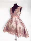 Chic A-line Asymmetrical V-neck Tulle Pearl Pink Charming Short Prom Dress Homecoming Dress AM228