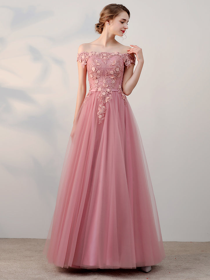 2d944bf2eb3c ... Chic A-line Off-the-shoulder Pink Applique Tulle Modest Long Prom Dress  ...