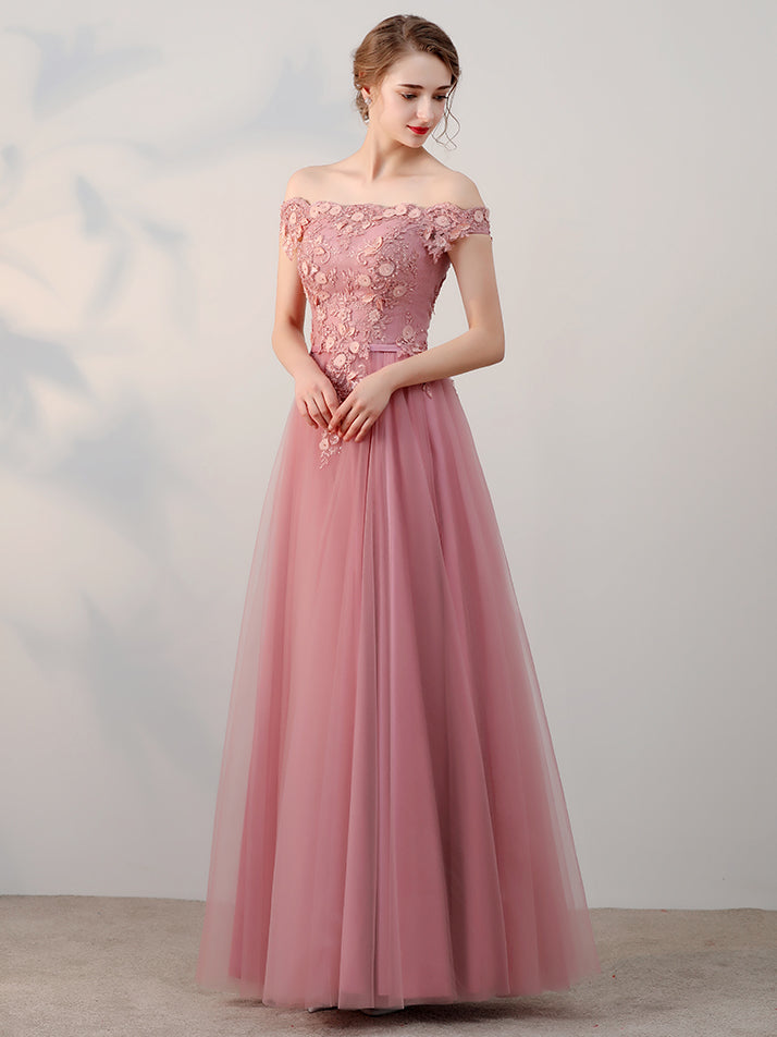 b7b70cb73560 ... Chic A-line Off-the-shoulder Pink Applique Tulle Modest Long Prom Dress  ...