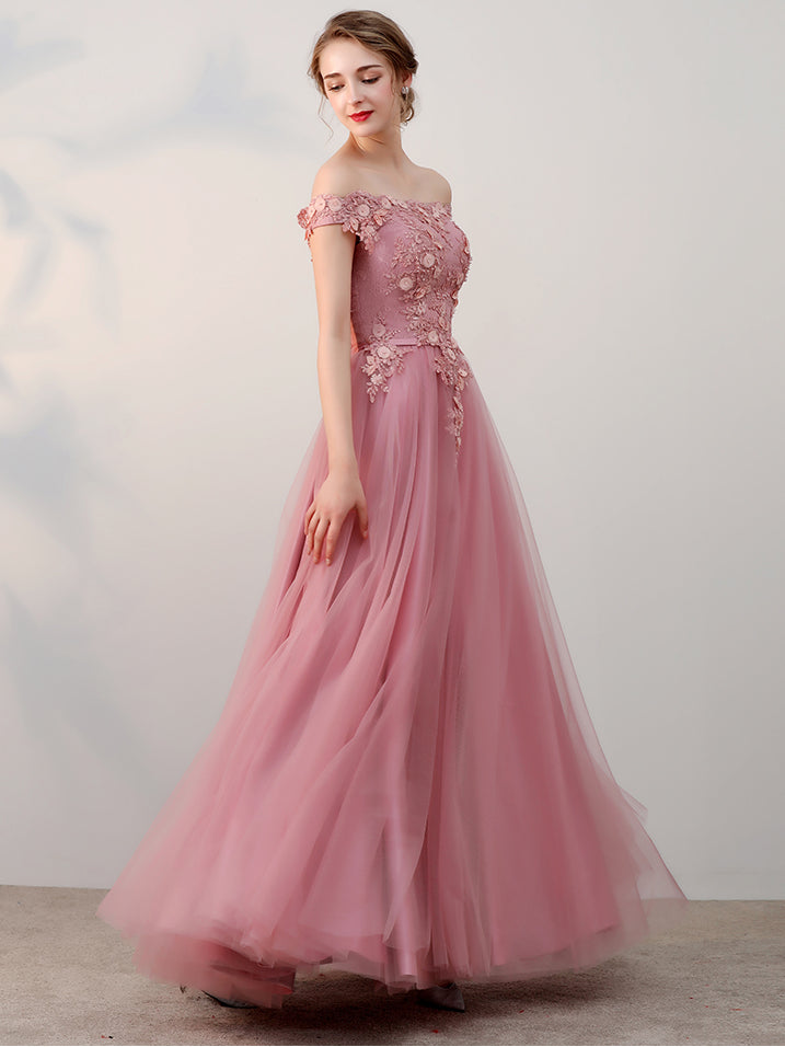 Chic A-line Off-the-shoulder Pink Applique Tulle Modest Long Prom ...