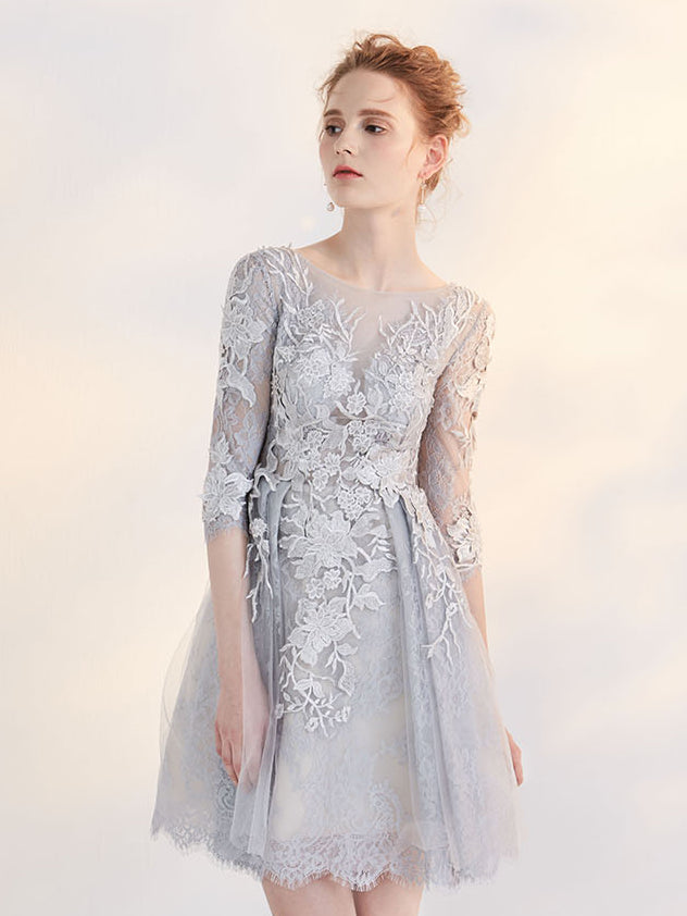 Chic A-line Bateau Tulle Gray Charming Half Sleeve Applique Short Prom Dress Homecoming Dress AM231
