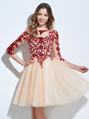 Chic A-line Bateau Tulle Burgundy Charming Half Sleeve Applique Short Prom Dress Homecoming Dress AM232