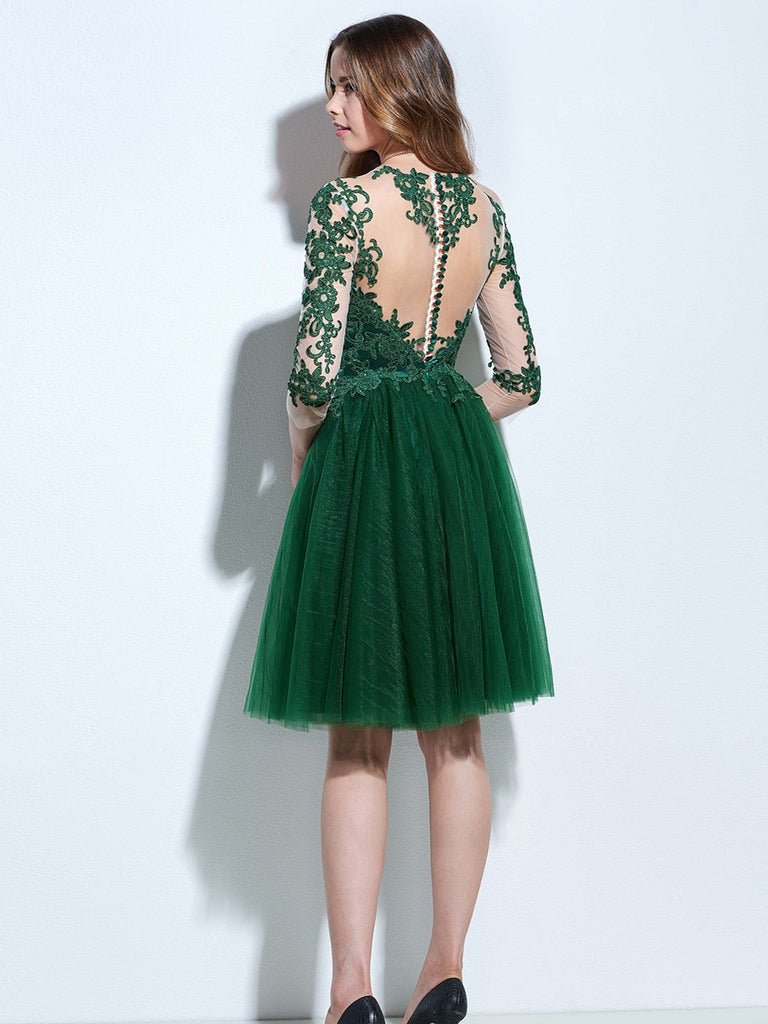 ... Chic A-line Bateau Tulle Dark Green Charming Half Sleeve Applique Short  Prom Dress Homecoming ... 9c69a3c54