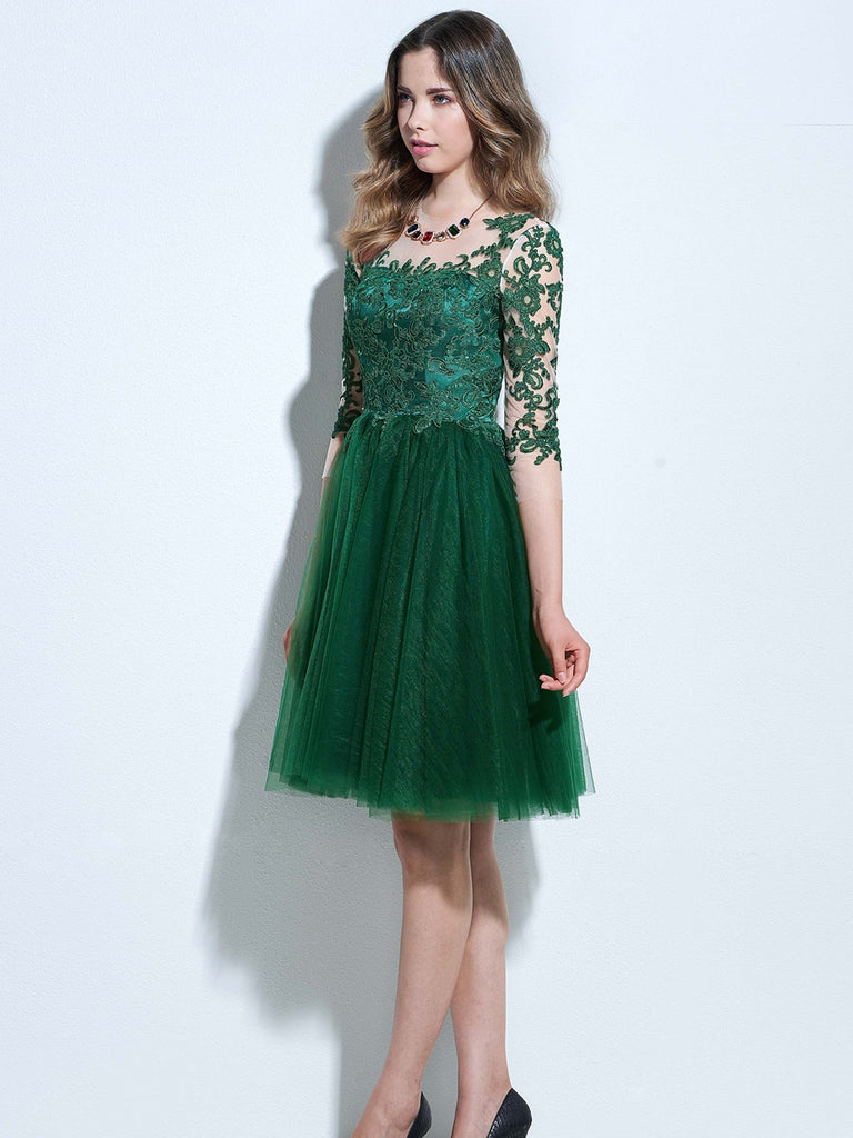 d6dd57e71db ... Chic A-line Bateau Tulle Dark Green Charming Half Sleeve Applique Short Prom  Dress Homecoming ...