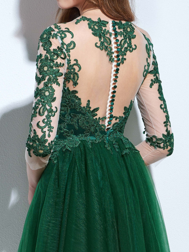 Chic A-line Bateau Tulle Dark Green Charming Half Sleeve Applique ...