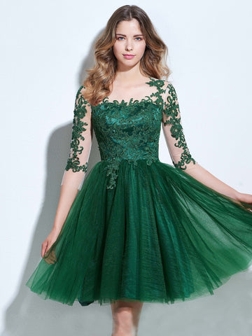 Chic A-line Bateau Tulle Dark Green Charming Half Sleeve Applique Short Prom Dress Homecoming Dress AM233