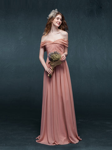 Chic A-line Off-the-shoulder Pearl Pink Ruffles Chiffon Simple Long Prom Dress Evening Dress AM234