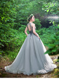 Chic A-line Scoop Silver Ruffles Beading Tulle Modest Long Prom Dress Evening Dress AM235