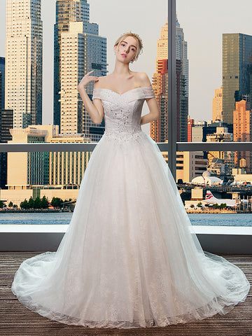 Chic A-line Off-the-shoulder Ivory Lace Tulle Modest Wedding Dress Bridal Gown AM236