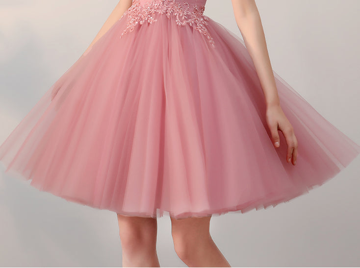 Chic a line tulle straps short prom dress pink simple lace