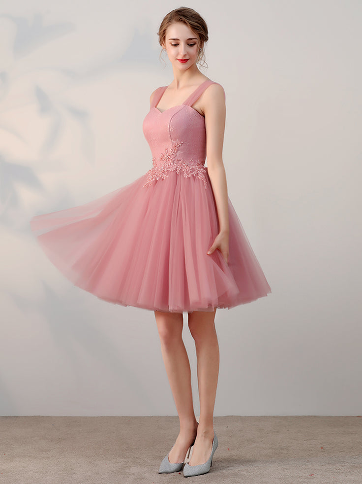 6e8923db226 Chic A-line Tulle Straps Short Prom Dress Pink Simple Lace Applique Ho –  AmyProm