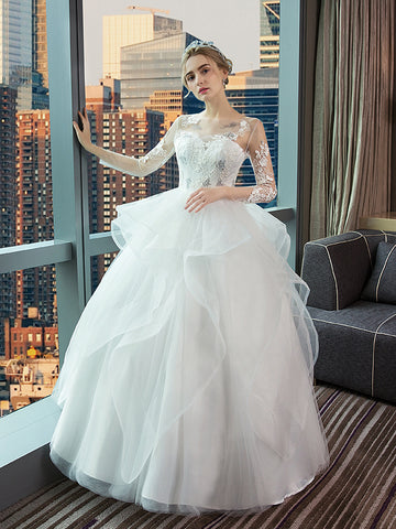 Chic A-line Bateau Long Sleeve Tull Applique Long Wedding Dress Bridal Gowns AM242