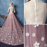 Chic A-line Two Pieces Sleeveless Pearl Pink Tull Applique Long Prom Dress Evening Gowns AM245