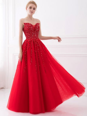 Chic A-line Sweetheart Sleeveless Red Tull Beading Long Prom Dress Evening Gowns AM246