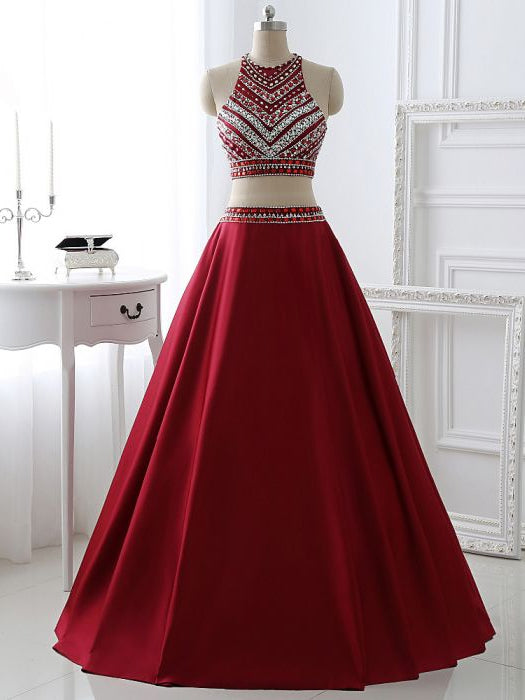 Chic A-line Two Pieces Scoop Sleeveless Burgundy Satin Rhinestone Long Prom Dress Evening Gowns AM247