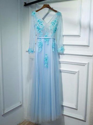 Chic A-line V-neck Long Sleeve Blue Tulle Applique Long Prom Dress Evening Gowns AM248