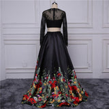 Chic A-line Long Sleeve Black Lace Applique Long Prom Dress Evening Gowns AM250