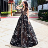 Chic A-line Tulle V-neck Sleeveless Black Applique Long Prom Dress Evening Gowns AM252