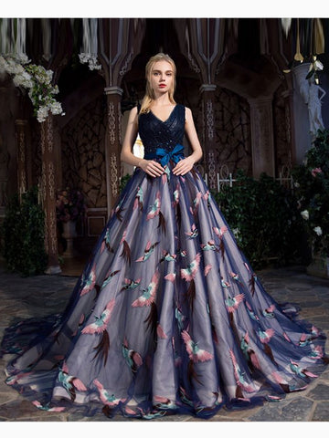 Chic A-line Ball Gown Prom Dress V-neck Dark Navy Tulle Prom Dress Evening Gowns AM253