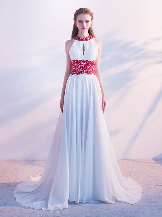 Chic A-line Scoop Chiffon Sleeveless Ruffles White Long Prom Dress Evening Dress AM254