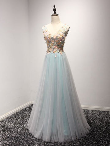 Chic A-line V-neck Tulle Applique Sleeveless Blue Long Prom Dress Evening Dress AM255