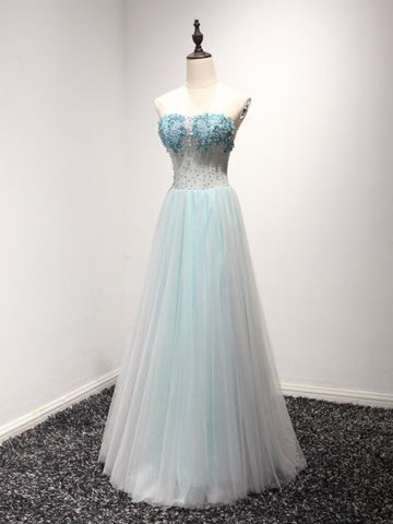 Modest A-line Sweetheart Tulle Beading Blue Long Prom Dress Evening Dress AM257