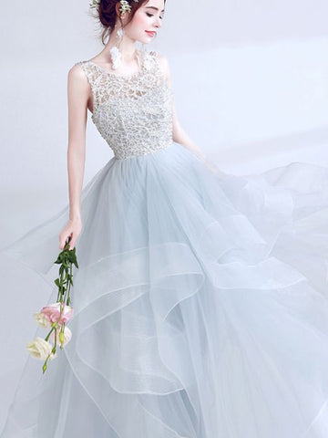 Modest A-line Scoop Tulle Lace Light Blue Long Prom Dress Evening Dress AM258