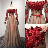 Modest A-line Off-the-shoulder Tulle Applique Chic Burgundy Long Prom Dress Evening Dress AM259