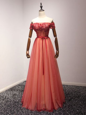 Modest A-line Off-the-shoulder Tulle Applique Chic Red Long Prom Dress Evening Dress AM260