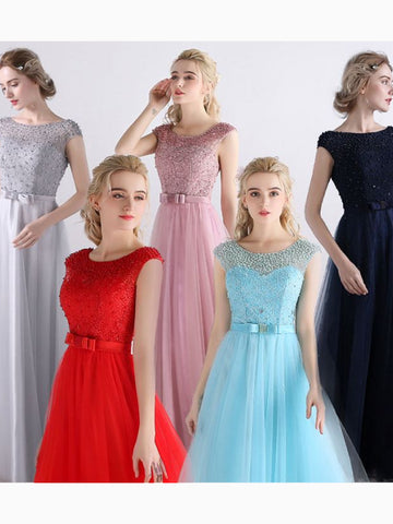 Modest A-line Scoop Tulle Beading Chic Pink Cheap Long Bridesmaid Dress AM261