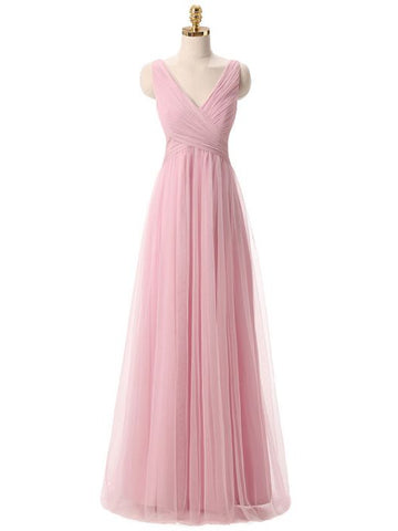 Simple A-line V-neck Tulle Ruffles Chic Pink Cheap Long Bridesmaid Dress AM262