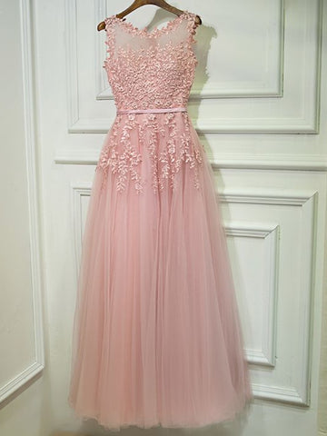 Simple A-line Scoop Tulle Applique Chic Pink Cheap Long Prom Dress Bridesmaid Dress AM263