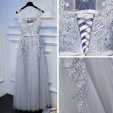 Mopdest A-line Long Prom Dress Scoop Tulle Applique Chic Silver Cheap Evening Dress AM264