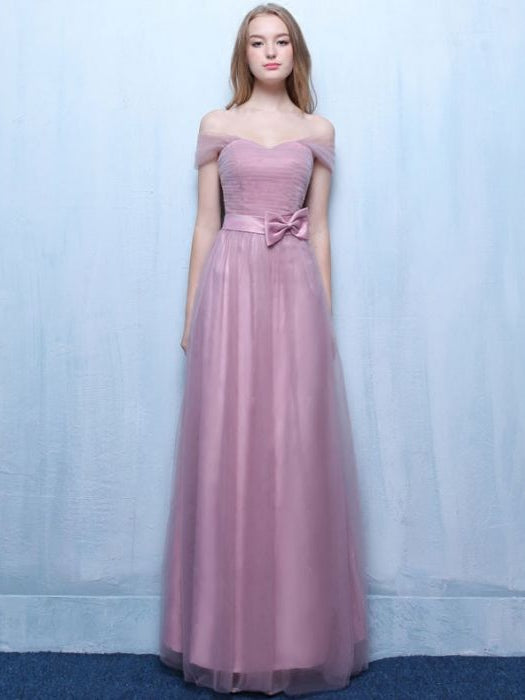 Simple A-line Off-the-shoulder Bridesmaid Dress Long Tulle Ruffles Chic Pink Bridesmaid Dress AM266