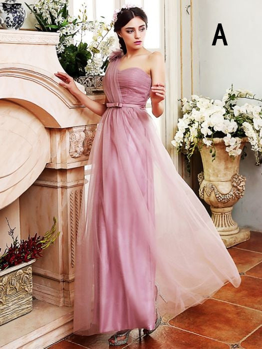 Simple A-line One Shoulder Bridesmaid Dress Long Tulle Ruffles Chic Pink Bridesmaid Dress AM267