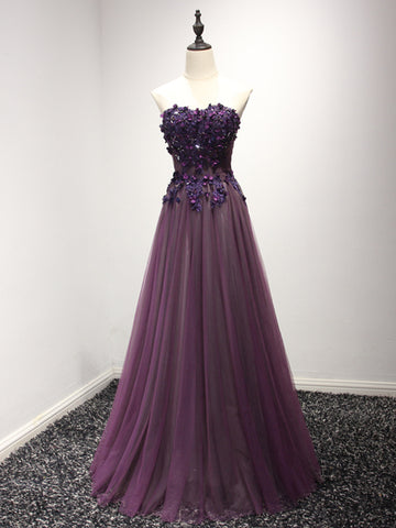 Modest A-line Sweetheart Grape Prom Dress Long Tulle Applique Chic Prom Dress AM268