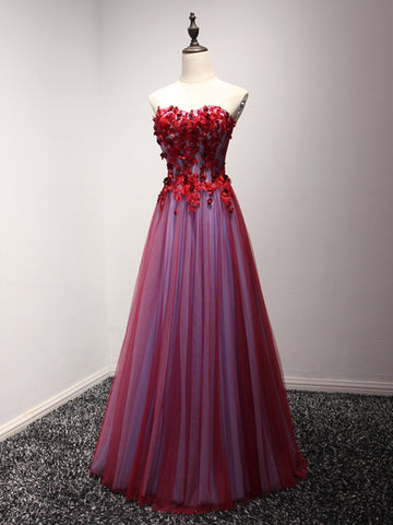 Chic A-line Sweetheart Prom Dress Burgundy Tulle Prom Dress Evening Gowns AM270