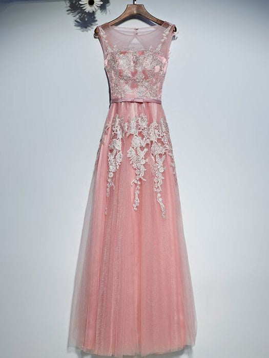 Chic A-line Scoop Sleeveless Prom Dress Pearl Pink Applique Tulle Long Prom Dress Evening Gowns AM273