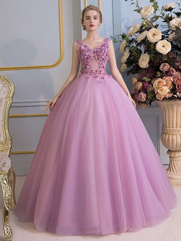 Chic A-line V-neck Sleeveless Prom Dress Lilac Applique Tulle Long Prom Dress Evening Gowns AM274
