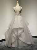 Chic A-line Scoop Organza Prom Dress Silver Beading Tulle Long Prom Dress Evening Gowns AM276