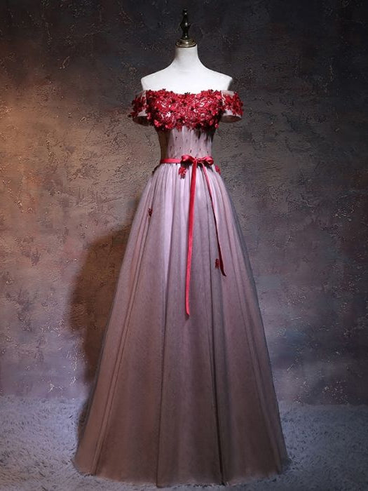 Chic A-line Off-the-shoulder Hand-Made Flower Burgundy Tulle Modest Prom Dress Evening Gowns AM277