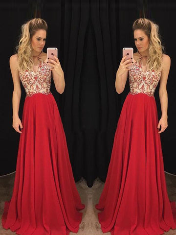 Chic A-line Scoop Chiffon Beading Red Modest Prom Dress Formal Dress Evening Gowns AM281
