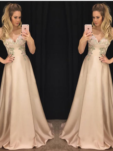 Chic A-line Sweetheart Satin Applique Modest Prom Dress Formal Dress Evening Gowns AM282
