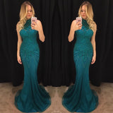 Chic Trumpet/Mermaid High Neck Chiffon Beading Dark Green Modest Prom Dress Formal Dress Evening Gowns AM284