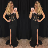 Chic Black Sheath/Column Scoop Chiffon Lace Modest Prom Dress Formal Dress Evening Gowns AM285