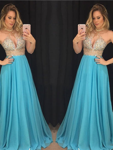 Modest A-line High Neck Chiffon Beading Chic Blue Prom Dress Formal Dress Evening Gowns AM286