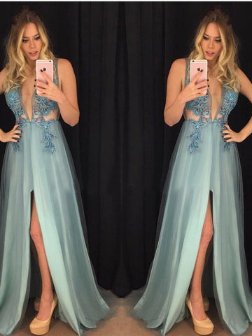 Simple Prom Dress A-line Deep V-neck Satin Chic Blue Formal Dress Evening Gowns AM288