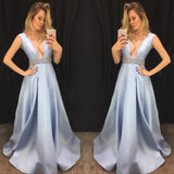 Simple Prom Dress A-line Deep V-neck Satin Chic Blue Formal Dress Evening Gowns AM289